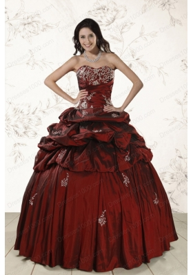 Most Popular Appliques 2015 Wine Red quinceanera gowns with Lace Up