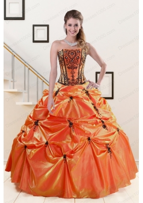 Most Popular Orange Red and Black quinceanera gowns with Appliques