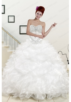 most popular Sweetheart Sweep Train Beading and Ruffles quinceanera gowns