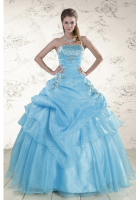 Pretty Aqua Blue 2015 Cheap Strapless Quinceanera Dresses with Beading