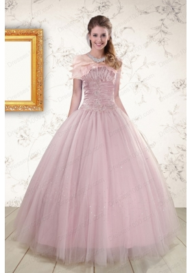 2015 Light Pink Strapless New Style Sweet 16 Dresses with Appliques