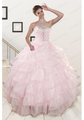 2015 New Style Baby Pink Quinceanera Dresses with Beading and Ruffles