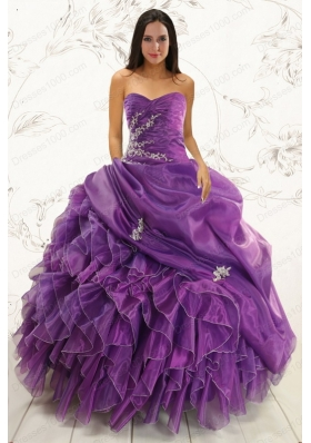 2015 New Style Purple Ball Gown Quinceanera Dress with Appliques and Ruffles