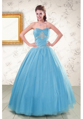 2015 New Style Strapless Beaded Quinceanera Dresses in Aqua Blue