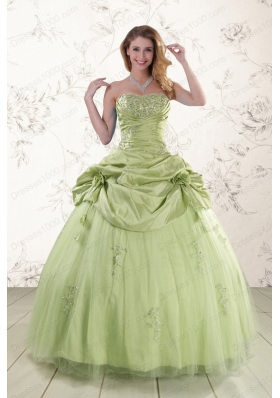 2015 New Style Sweetheart Beading Quinceanera Dress in Yellow Green