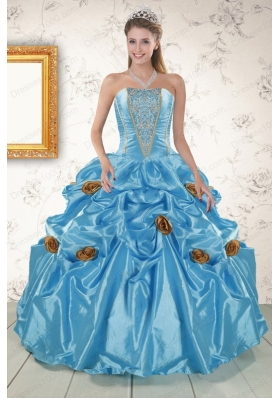 New Style Aqua Blue Quinceanera Dresses with Beading and Flowers