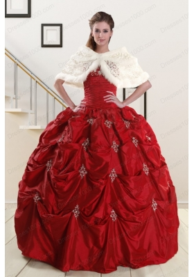 New Style Strapless Appliques Wine Red Quinceanera Dresses for 2015