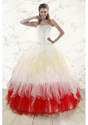 New Style Sweetheart Ruffled Beading Quinceanera Dresses in Multi Color