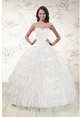 New Style White Sequins Ball Gown Quinceanera Dresses for 2015