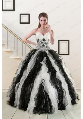 Most Popular Black and White Quinceanera Gowns with Zebra and Ruffles