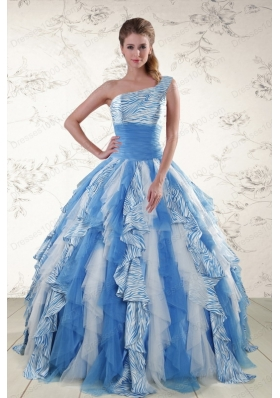 Most Popular Multi Color One Shoulder Printed Quinceanera Gowns for 2015