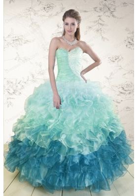 most popular Multi Color  Quinceanera Gowns with Beading and Ruffles
