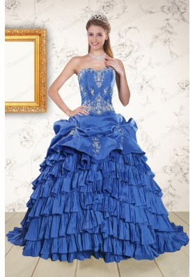 most popular Royal Blue Appliques and Pick Ups Quinceanera Gowns with Brush Train