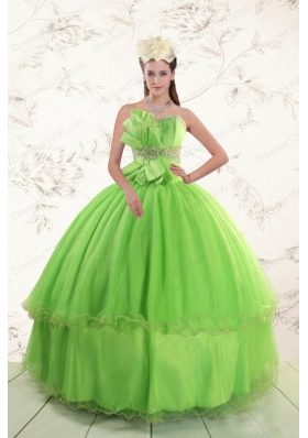 Most Popular Sweetheart  Quinceanera Gowns with Beading and Bowknot