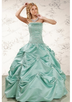 Most Popular Turquoise  Quinceanera Gowns with Appliques and Pick Ups