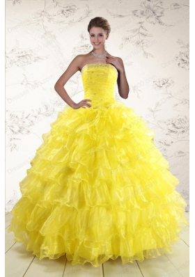 most popular Yellow Quinceanera Gowns with Beading and Ruffles