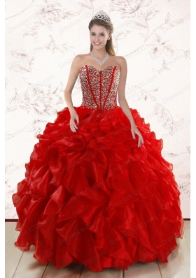 fashionable Red Quinceanera Dresses With  Beading and Ruffles for 2015