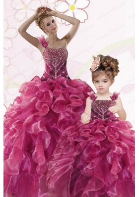 Modest Beading and Ruffles Fuchsia Princesita Dress for 2015