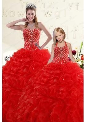 Popular Beading and Ruffles Red Princesita Dress for 2015