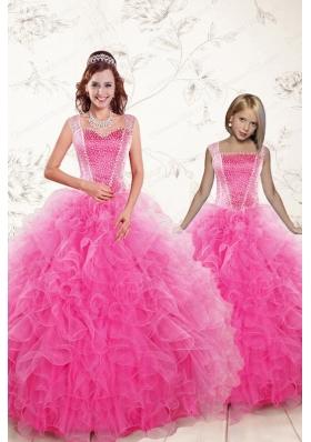 2015 Pretty Straps Hot Pink Princesita Dresses with Beading