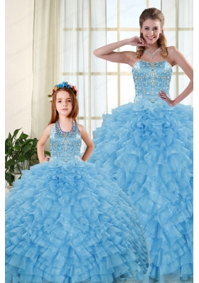 2015 Pretty Sweetheart Baby Blue Princesita Dresses with Beading