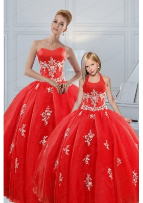 Most Popular Red Puffy Princesita Dresses with Appliques