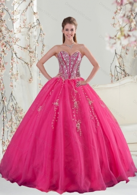 2015 Designer Sweetheart Hot Pink Sequins and Appliques Prom Dresses