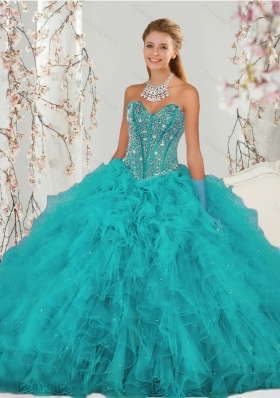 2015 Detachable and Elegant Beading and Ruffles Sweet 15 Dresses in Turquoise
