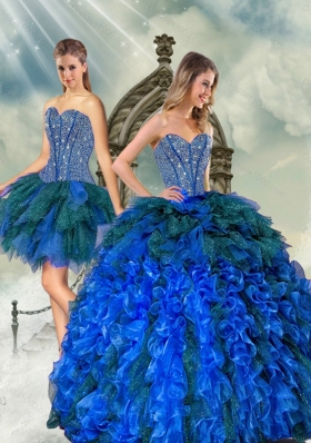 2015 Detachable and New Style Beading and Ruffles Quince Dresses in Royal Blue and Teal