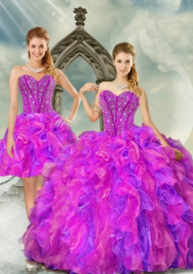 2015 Detachable Fuchsia and Lavender Quince Dresses with Beading and Ruffles