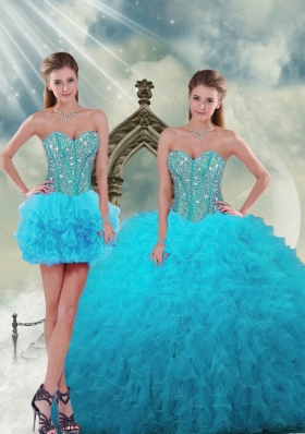 2015 Spring Detachable and Fashionable Beading and Ruffles Dresses For Quince