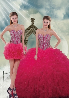 Detachable and Elegant Beading and Ruffles Red Sweet 16 Dresses