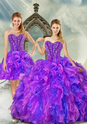 Detachable and Fashionable Blue and Lavender Dresses for Quince with Beading and Ruffles
