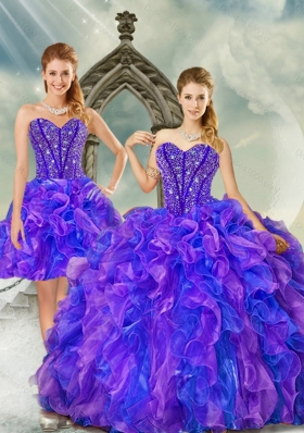 Detachable and Most Popular Beading and Ruffles Quince Dresses in Purple and Blue for 2015