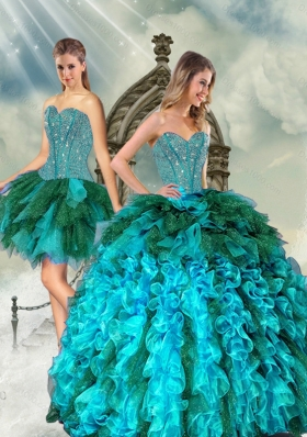 Detachable and Most Popular Multi Color Beading and Ruffles Sweet 15 Dresses for 2015