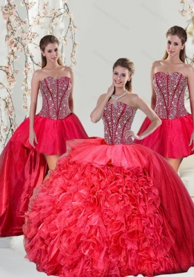 Detachable Beading and Ruffles Red Quinceanera Dresses for 2015