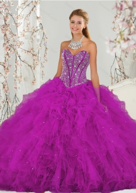 Luxurious and Detachable Beading and Ruffles Fuchsia Sweet 16 Dresses