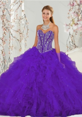 Detachable and New Style Purple Sweet 16 Dresses with Beading and Ruffles