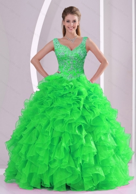 Wonderful Beading and Ruffles Spring Green Vestidos de Quinceanera Dresses