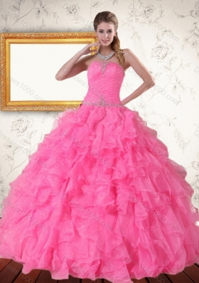 2015 Perfect Strapless Quinceanera Dress with Beading and Ruffles