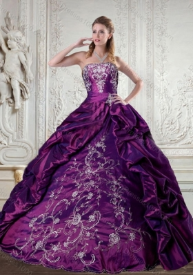 Floor Length Strapless Embroidery and Pick Up Quinceanera Gown for 2015
