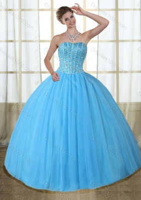 Gorgeous Baby Blue Strapless Quinceanera Dress with Beading for 2015