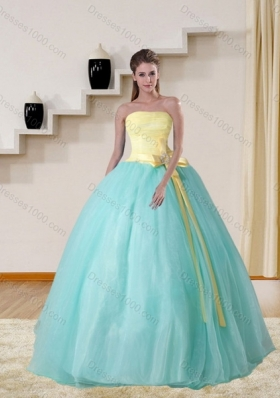 Strapless Multi Color 2015 Elegant Quinceanera Gown with Bowknot