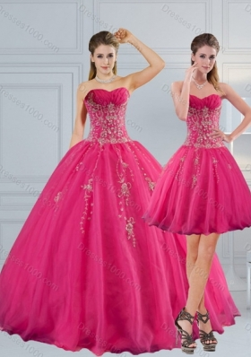 Sweetheart Hot Pink Quinceanera Dress with Appliques and Beading for 2015