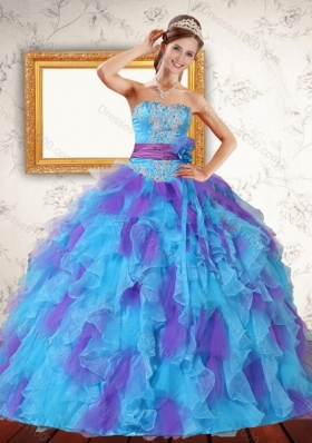 Trendy Ruffles and Sash Strapless Quinceanera Dress in Multi Color for 2015