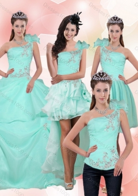 2015 Apple Green Quince Dress with Beading and Appliques