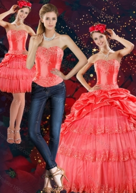 2015 Designer Strapless Quinceanera Dresses with Pick Ups and Beading