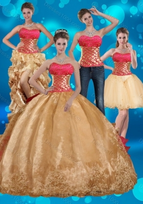 2015 Gold Strapless Quince Dress with Beading and Embroidery