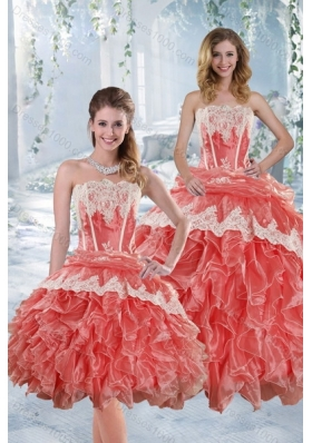 2015 New Style Strapless Appliques and Ruffles Quinceanera Dresses in Watermelon Red