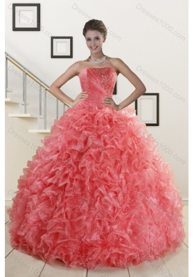 2015 Popular Watermelon Red Quince Dresses with Beading and Ruffles